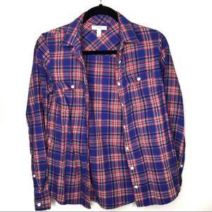 🎃3/$20🎃 J Crew Plaid Button Up Flannel Blue